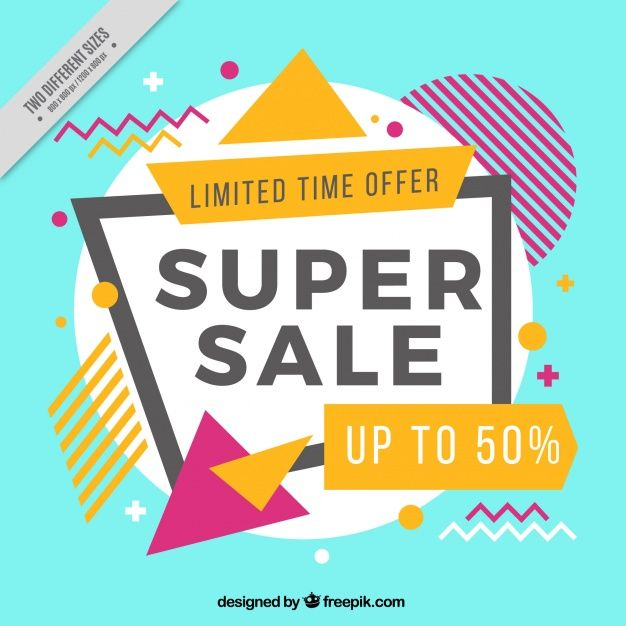626x626 Banner Vector Memphis Style Discount Background Free Vector