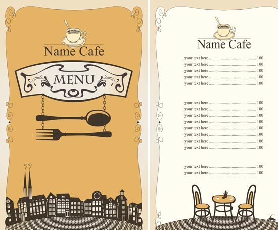 550x455 5 Restaurant Menu In Vectorial Format