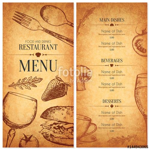 500x500 Restaurant Menu Design. Vector Menu Brochure Template For Cafe
