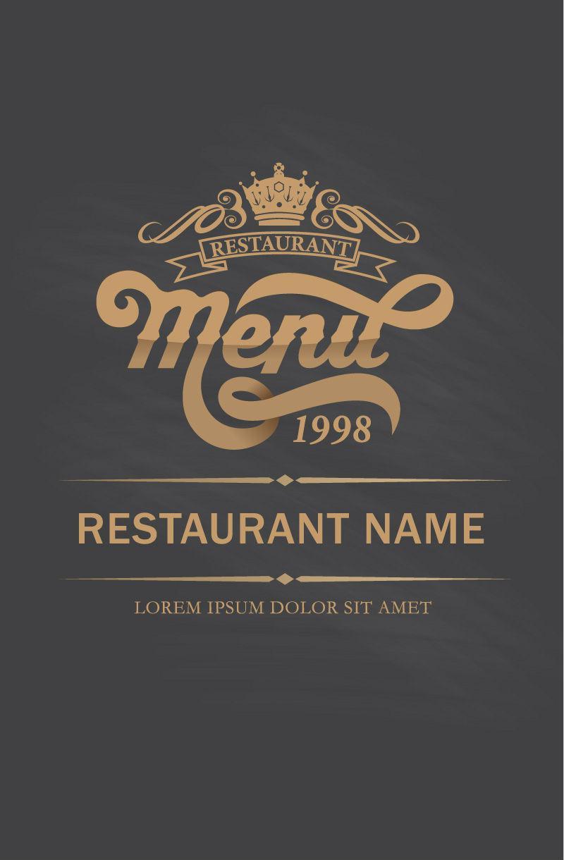 800x1220 Retro Gold Restaurant Menu Design Vector [Eps]