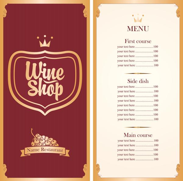 600x593 Wine Menu List Template Vector Material 01 Free Download