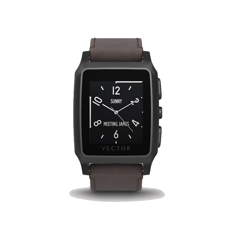 800x800 Buy Vector Meridian Brushed Black With Brown Leather Strap In