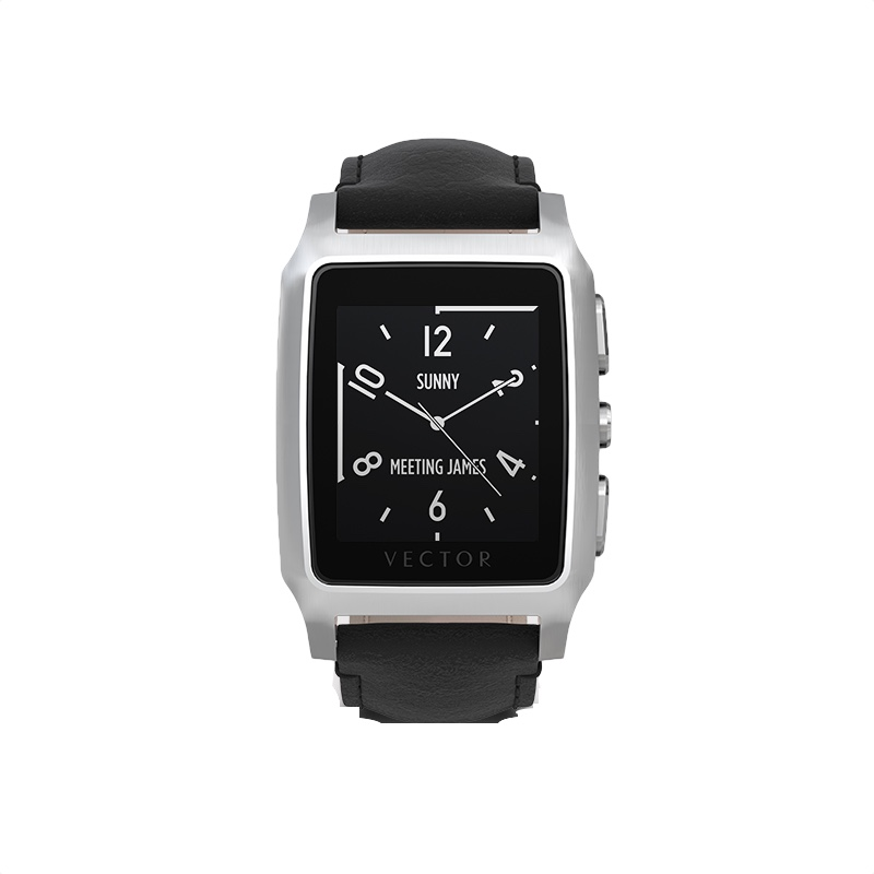 800x800 Buy Vector Meridian Steel With Black Leather Strap Smart Watch In