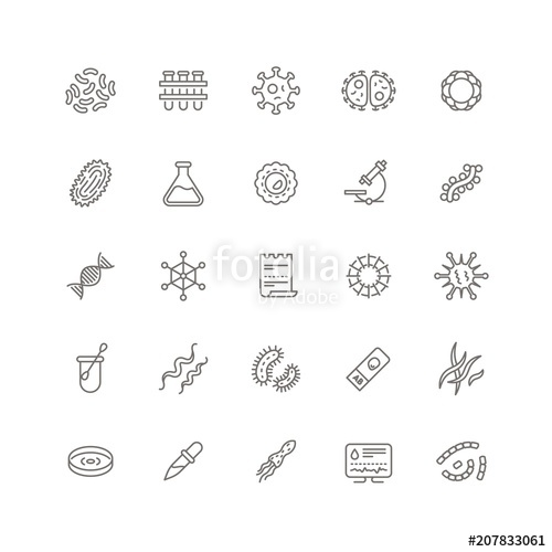 500x500 Contagion Microbes, Flu Viruses And Microorganisms Line Icons
