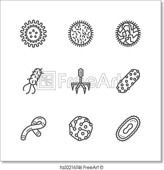 561x581 Free Art Print Of Bacteria And Virus Black Line Vector Icons Set