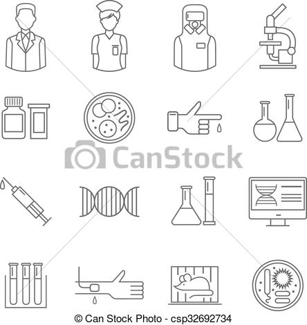 444x470 Microbiology Symbol With White Background. Microbiology Thin Line