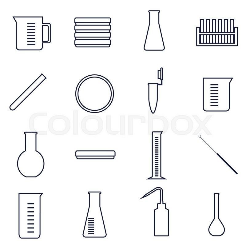 800x800 Set Of Icons For Microbiology Lab Work Stock Vector Colourbox