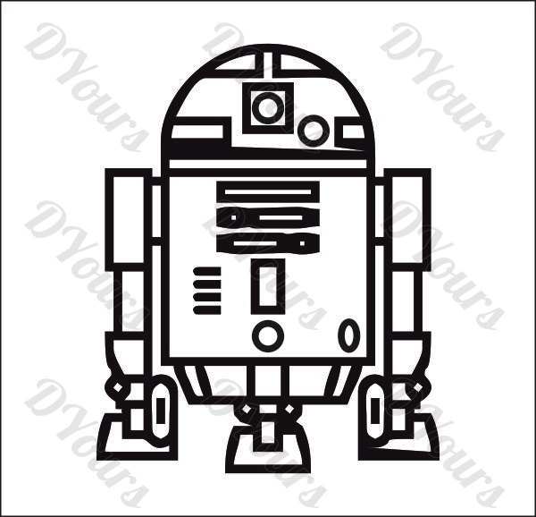 600x578 R2d2 Star Wars Vector Model Svg Cdr Ai Pdf Eps Files Etsy