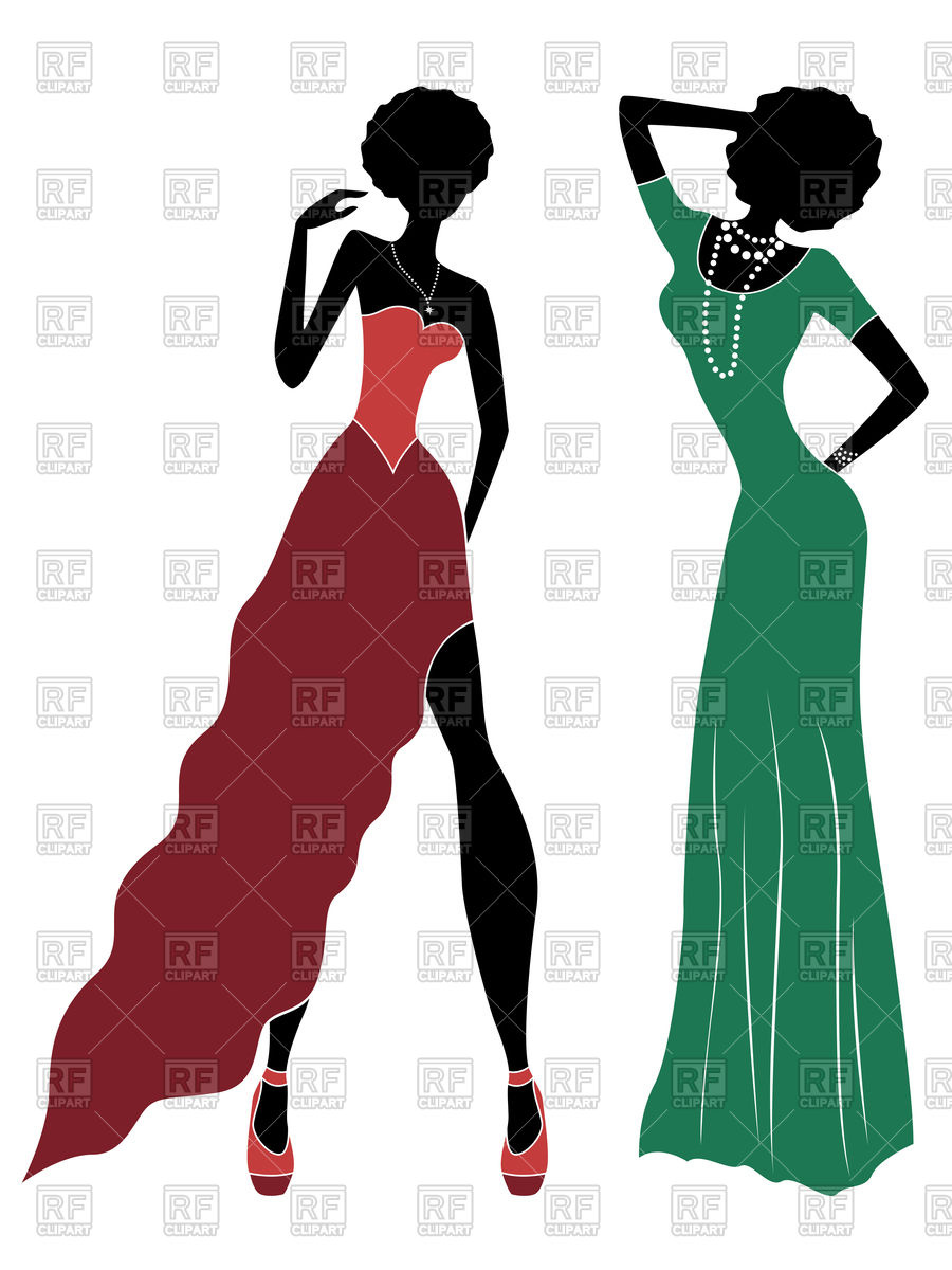 900x1200 Silhouette Of Slender Model Women In Dull Red And Green Long Gown