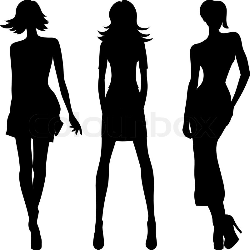 800x800 Vector Silhouette Of Fashion Girls Top Models Stock Vector