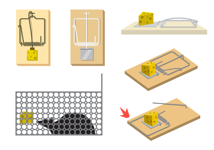 700x490 Mouse Trap Vector With Cheese