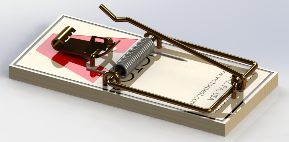 960x473 Mouse Trap 3d Cad Model Library Grabcad