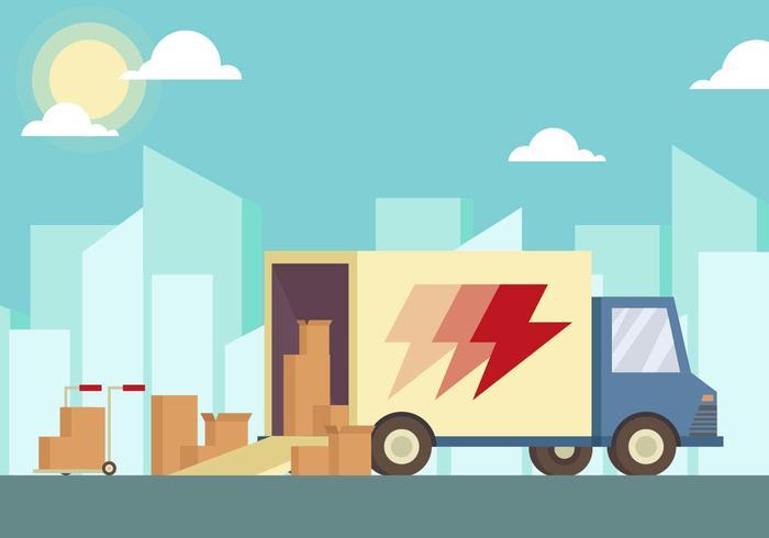 700x490 Moving Van Illustration Vector