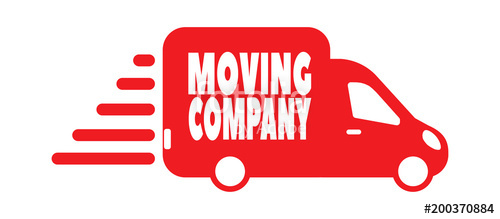 500x219 Moving Company Or Service Logo With Transport Car. Stock Image
