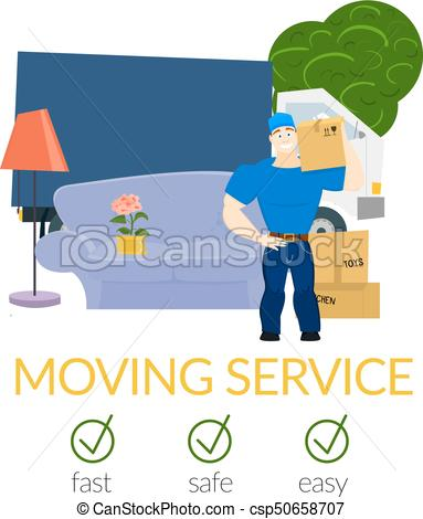 383x470 Moving Service Guy With Furniture And Moving Truck Vector