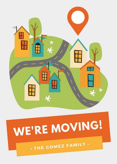 392x550 Orange Amp Yellow House Vector Moving Announcement