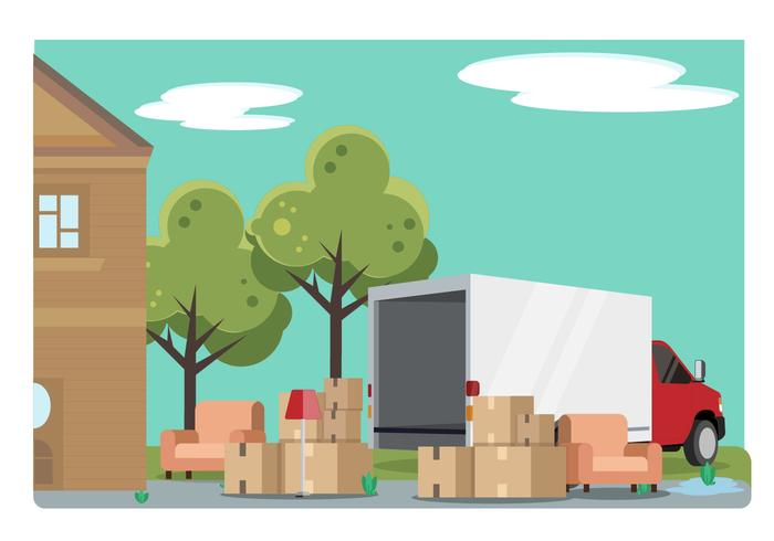 700x490 Home Relocation With Moving Van Vector Illustration