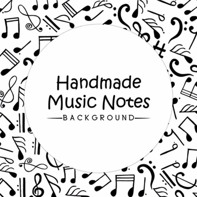 640x640 Hand Drawn Music Notes Background, Hand Vector, Music Vector