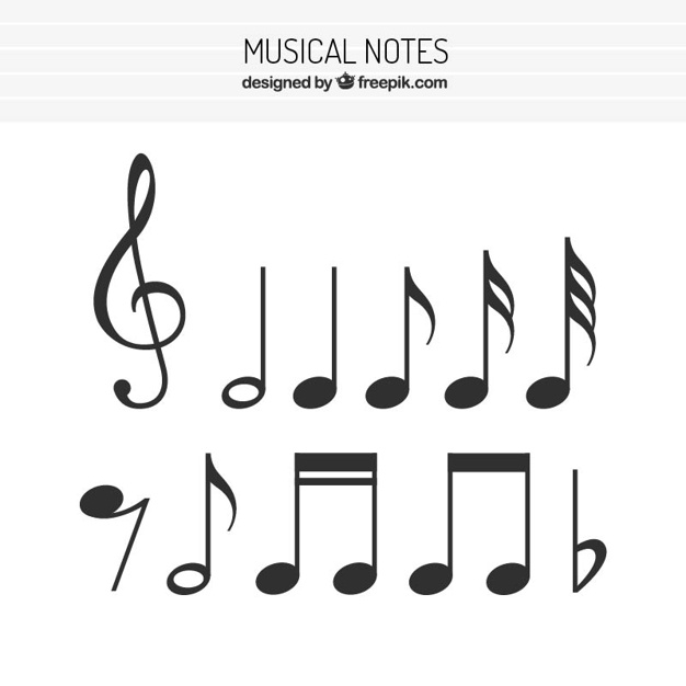 626x626 Flat Set Of Musical Notes Vector Free Download
