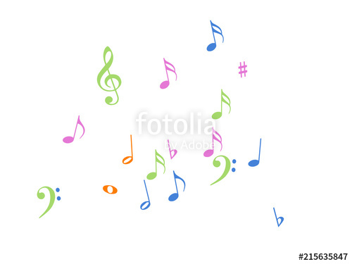 500x375 Music Notes Confetti Falling Chaos Vector. Music Symbols Texture