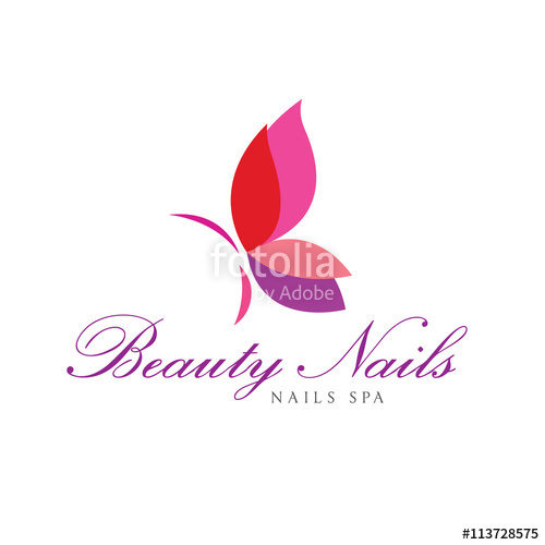 500x500 Butterfly Logo,beauty Nails Logo Template. Stock Image And