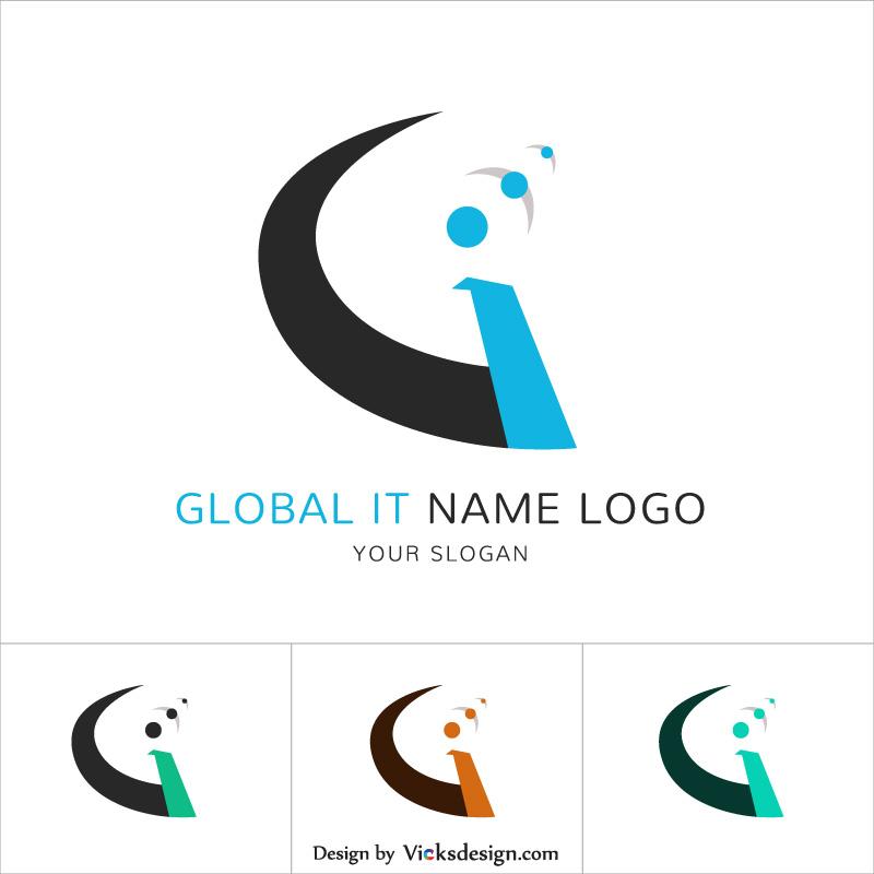 800x800 Global It Name Logo, Gi Letter Logo Set Vector Illustration