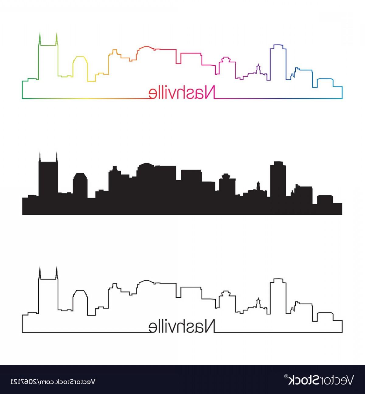 1200x1296 Nashville Skyline Linear Style With Rainbow Vector Shopatcloth