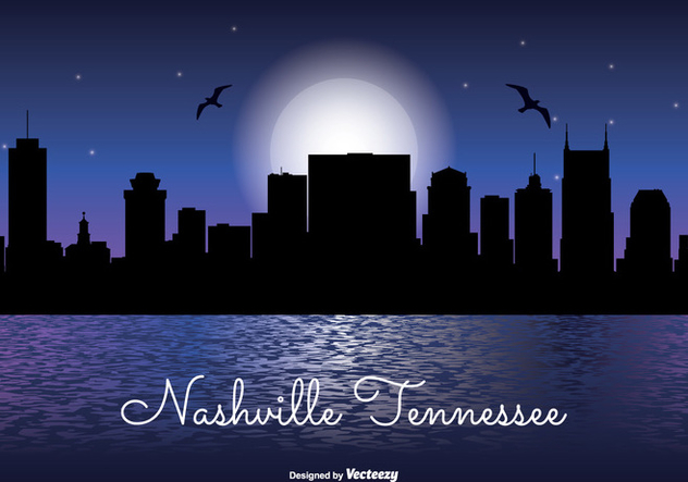 632x443 Nashville Tennessee Night Skyline Free Vector Download 330485