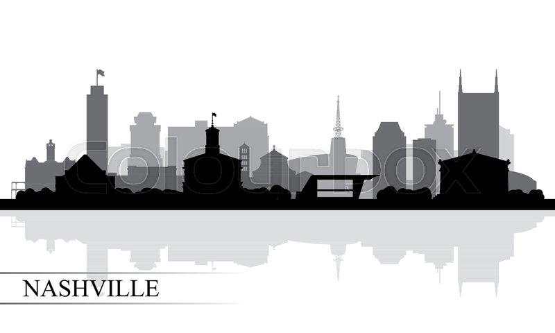 800x480 Nashville City Skyline Silhouette Background, Vector Illustration