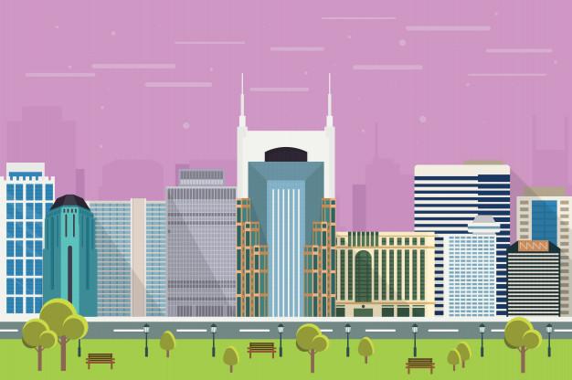 626x416 City Skyscrapers Of Nashville Illustration Vector Premium Download
