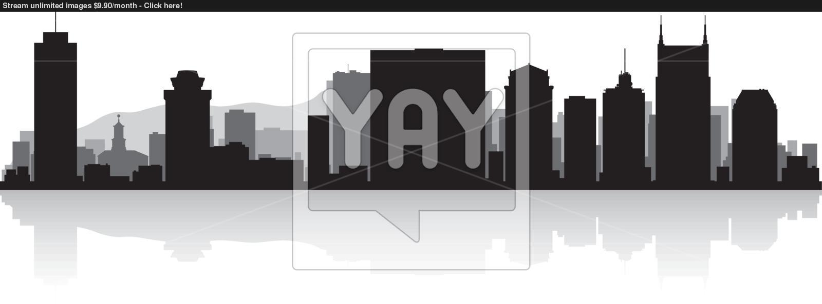 1600x593 Nashville City Skyline Silhouette Vector