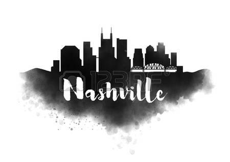 450x318 Winning Nashville Skyline Silhouette 121 Stock Vector Illustration