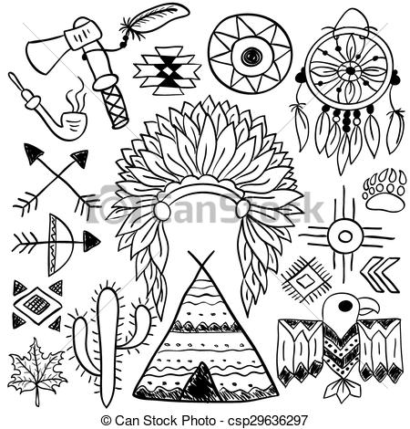 450x470 Hand Drawn Doodle Vector Native American Symbols Set. Hand Drawn