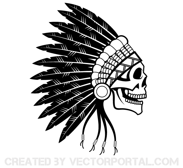 600x550 Indian Chief Skull Vector Art Feeeee Free Vector
