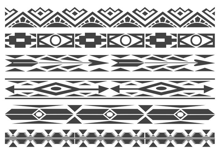700x490 Monochrome Native American Pattern Vector Borders