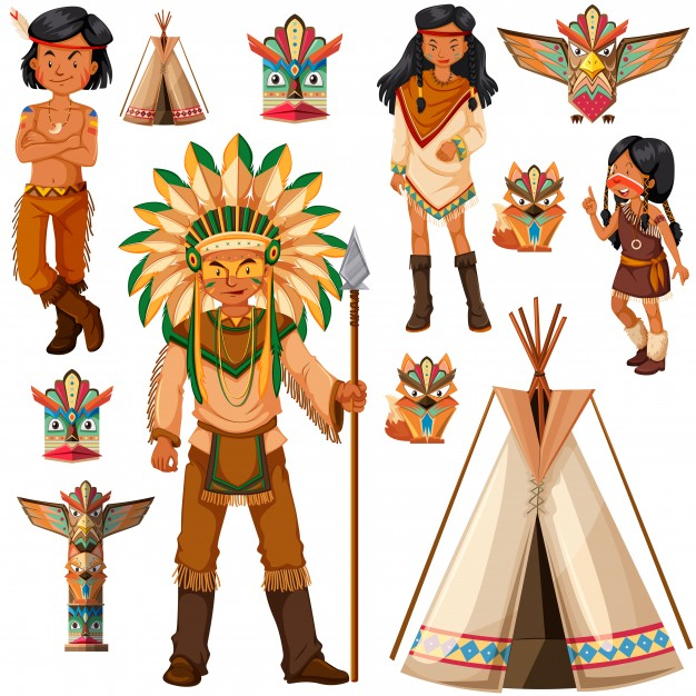 626x626 Native American Indian People And Tepee Illustration Vector Free