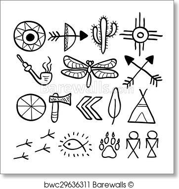 362x382 Art Print Of Hand Drawn Doodle Vector Native American Symbols Set