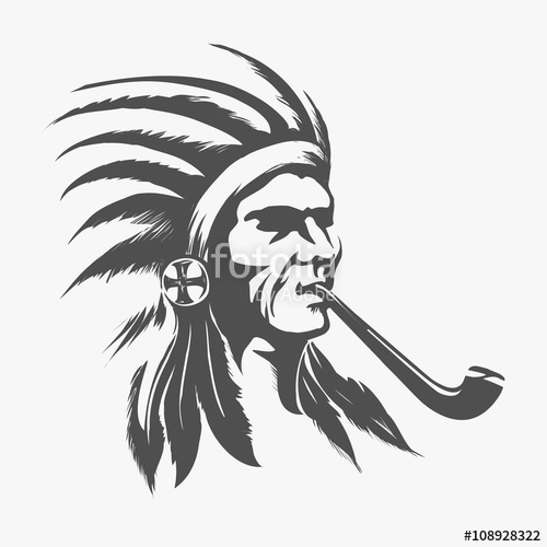 500x500 Native American Indian Face For Logo Or Amblem Vector Illustration
