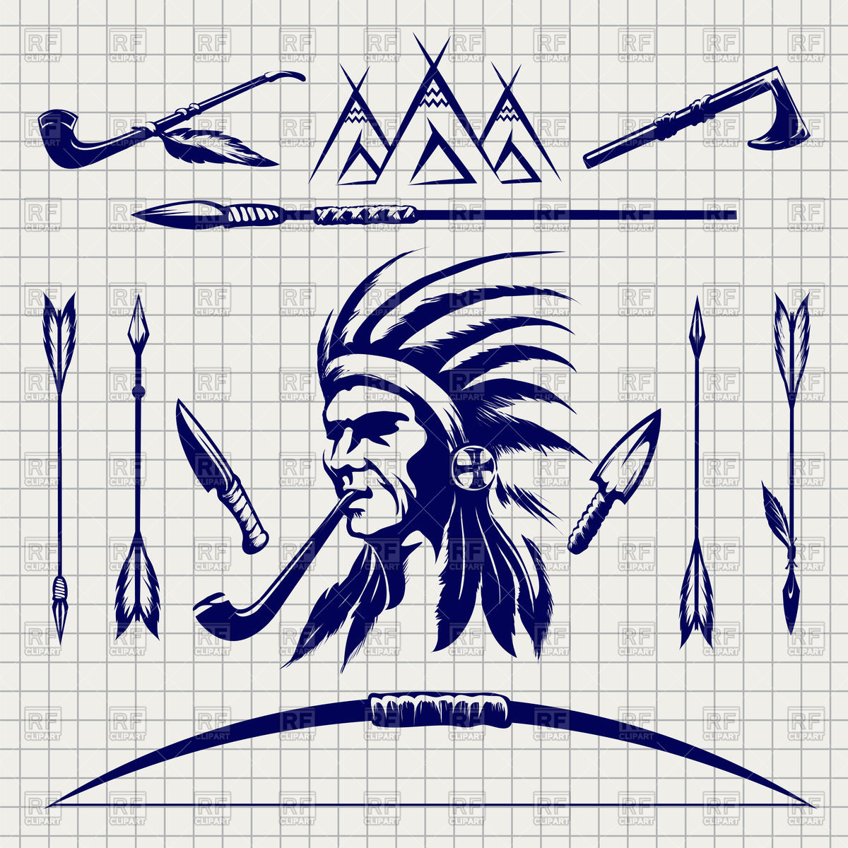 1200x1200 Sketch Of Native American Indian Arrows, Bow And Pike Vector Image