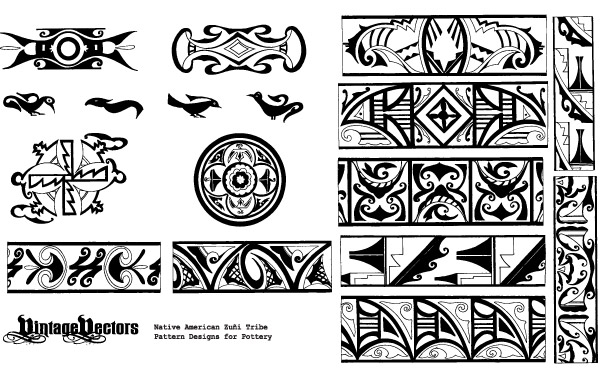600x380 Free Vectors Native American Pottery Patterns Vintage Vectors