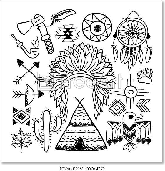 561x581 Free Art Print Of Hand Drawn Doodle Vector Native American Symbols