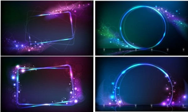 600x357 4 Neon Lights Frame Vector Background