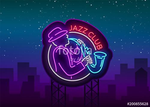 500x357 Jazz Club Neon Vector. Neon Sign, Logo, Brilliant Banner, Bright