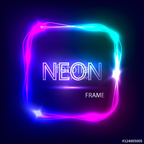 500x500 Neon Square Glowing Frame. Light Banner With Neon Effect. Electric