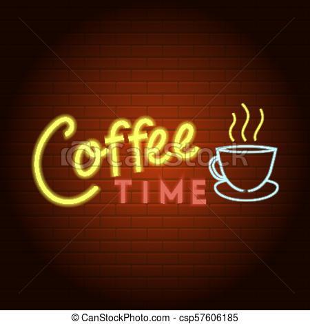 450x470 Coffee Time Logo Neon Light Icon, Realistic Style. Coffee Time
