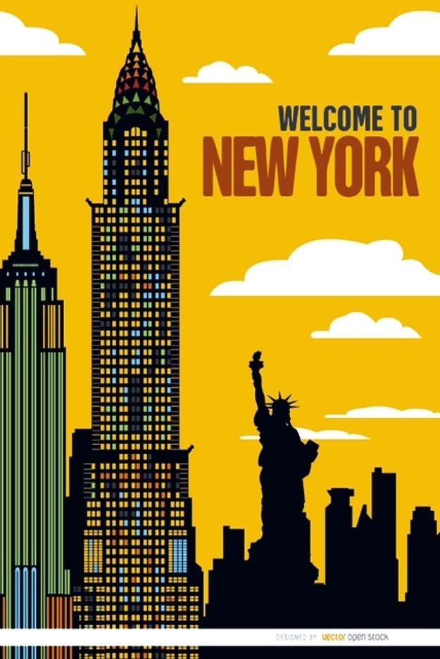 625x936 Nyc Skyline Poster New City Poster Free Vector New York Skyline
