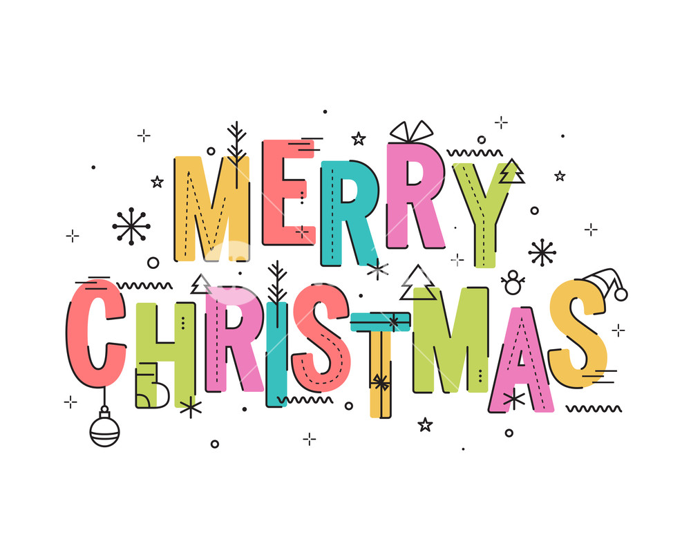 1000x800 Merry Christmas Typography Or Lettering Design With Xmas Objects
