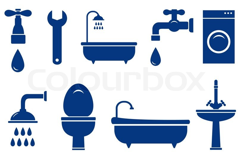 800x537 Plumbing Engineering Set With Isolated Bath Objects On White