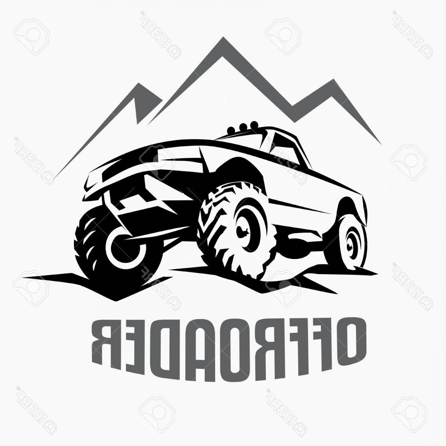 1560x1560 Photostock Vector Offroad Suv Car Monochrome Template For Labels