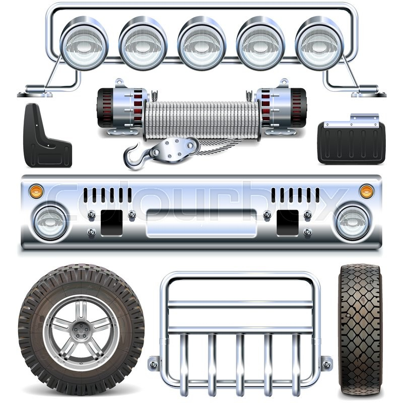 800x800 Vector Offroad Car Spares Isolated On White Background Stock